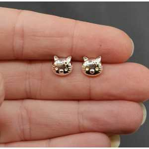 Silver oorknopjes hello kitty