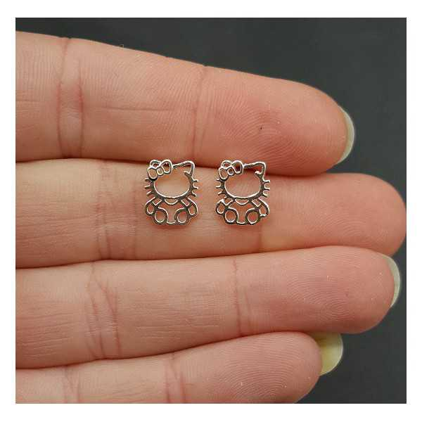 Silver oorknopjes with hello kitty