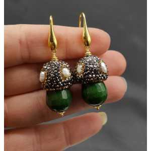 Goud vergulde oorbellen met Emerald groene Jade Pareltjes en kristallen