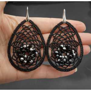 Earrings with black pendant on silk thread and crystals
