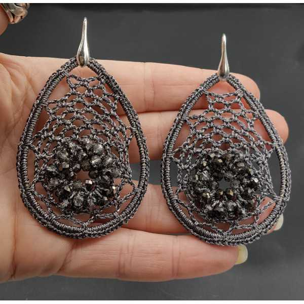 Earrings with grey pendant of silk thread and crystals