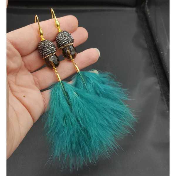 Vergoldete Ohrringe Smokey Topaz Kristallen und Federn