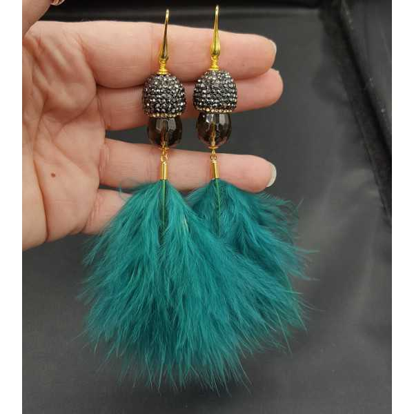Gold plated earrings Smokey Topaz crystals and feathers