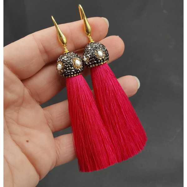Gold plattiert rosa Quaste Ohrringe mit Kristallen und Perle