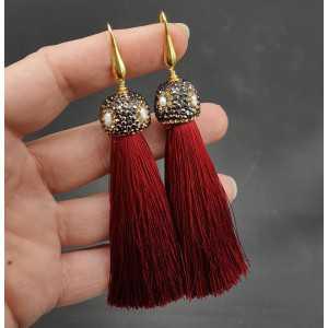 Gold plated dark red tassel-Ohrringe mit Kristallen und Perle