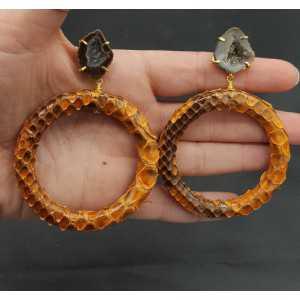 Goud vergulde oorbellen met ring van Slangenleer en Agaat geode