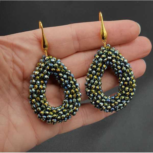 Vergoldete Ohrringe öffnen, Tropfen, blau-grüne metallic-Kristalle