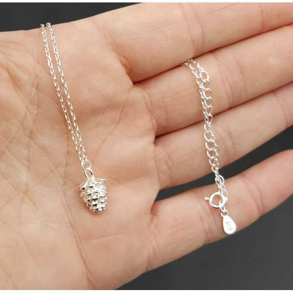 Silver necklace with pinecone pendant