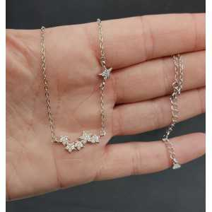 Silver necklace with stars set with Zirconia