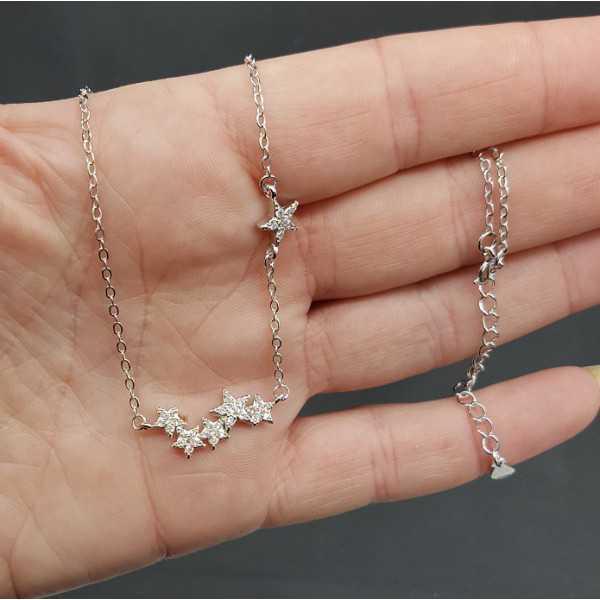 Silber-Halskette mit Sternen-set mit Zirkonia