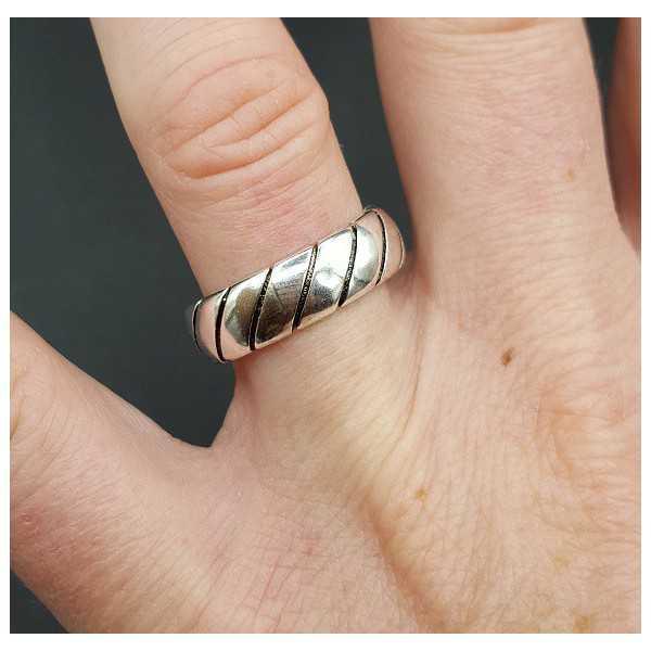 Zilveren band ring verstelbaar