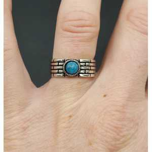 Silver ring with blue stone adjustable