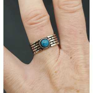 Zilveren ring met blauw steentje verstelbaar