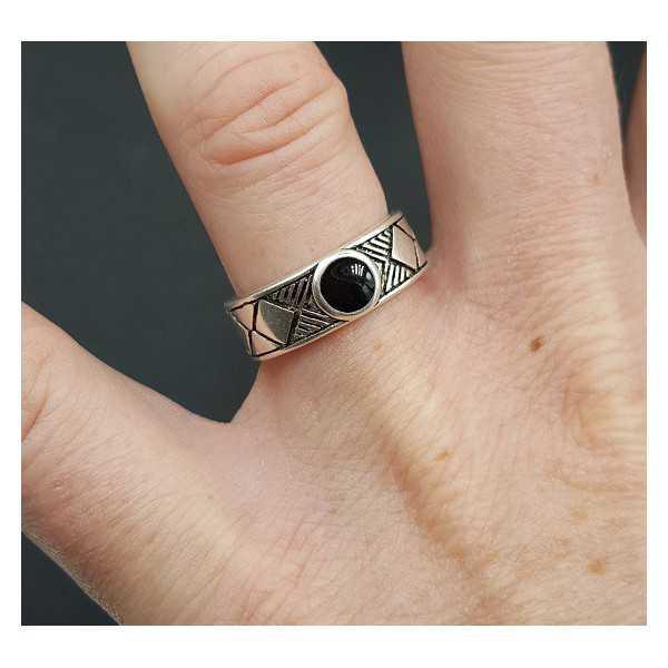 Silber ring mit schwarzem Stein verstellbar