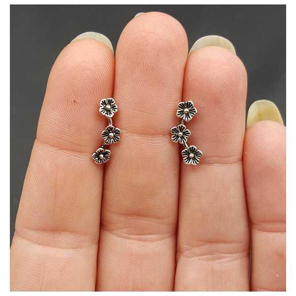 Silber oorknopjes drei Blumen