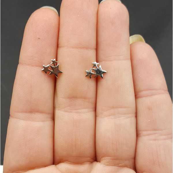 Silver oorknopjes three stars