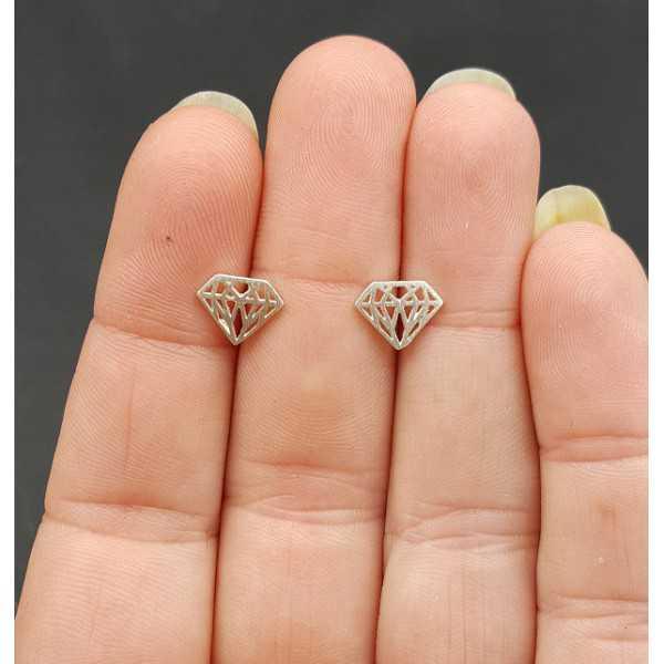 Silver oorknopjes diamond