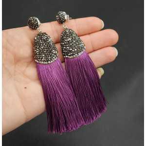 Tassel Ohrringe von satijndraad und Kristalle lila