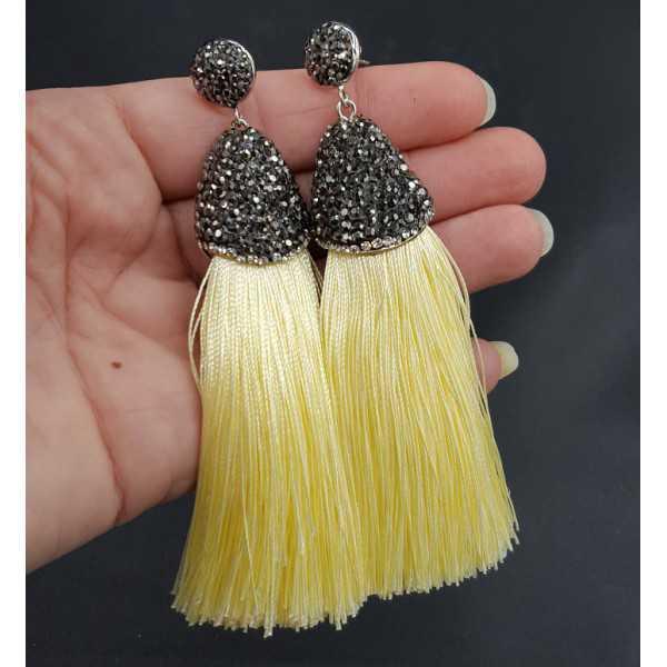 Tassel Ohrringe von satijndraad und Kristalle gelb