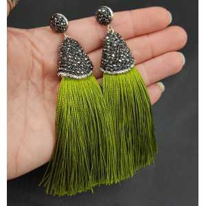 Tassel Ohrringe von satijndraad und crystal green