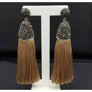 Tassel Ohrringe von satijndraad und crystal beige