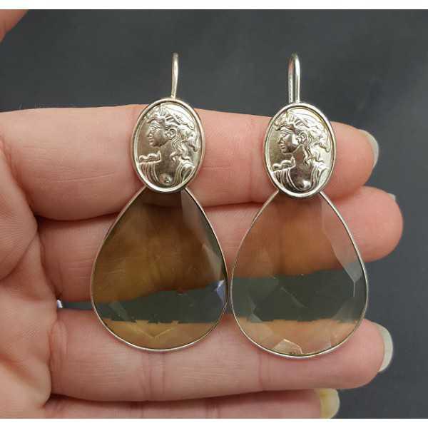 Silber Ohrringe mit großen grünen Amethyst Quarz und Cameo