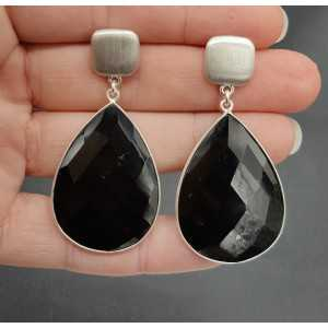 Silver earrings with black Onyx briolet