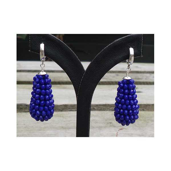 Silver earrings with drop of facet geslepe Lapis Lazuli