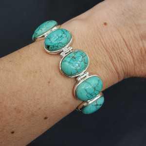 Zilveren armband met ovale cabochon geslepen Turkoois schakels