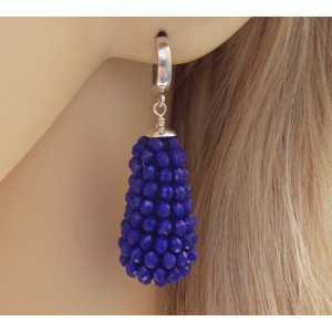 Silber Ohrringe mit Tropfen Facette geslepe Lapis Lazuli