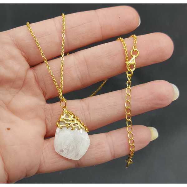 Vergoldete Halskette mit Anhänger aus Regenbogen-Mondstein
