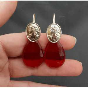 Silber Ohrringe mit Granat und rotem Quarz und cameo