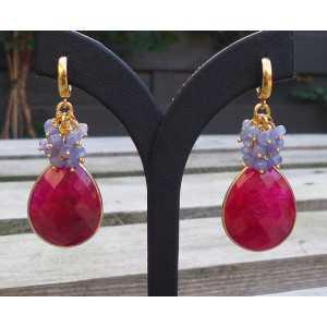 Vergoldete Ohrringe mit Rubin-briolet und Tanzaniet