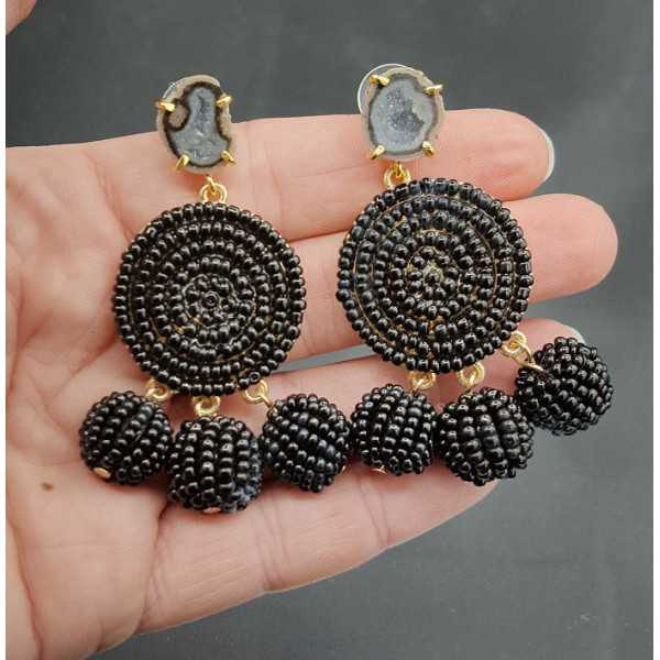 Schwarze Perlen Ohrringe-Achat-geode