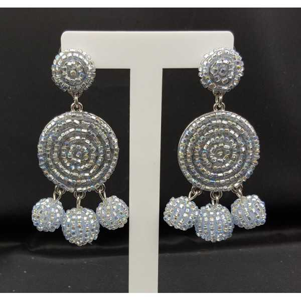 Beaded bead earrings silver