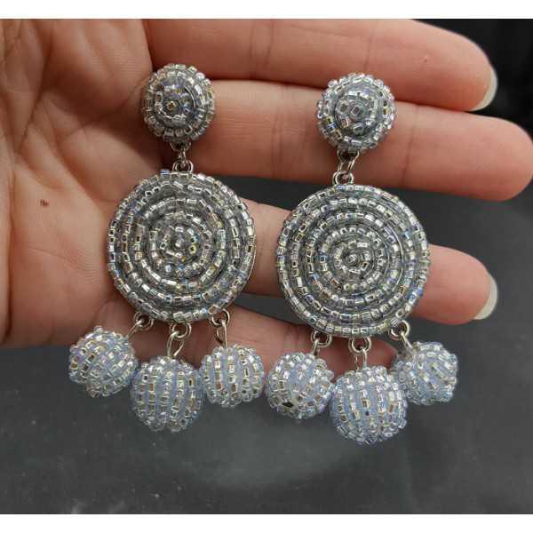 Perlen-Perlen-Ohrringe Silber