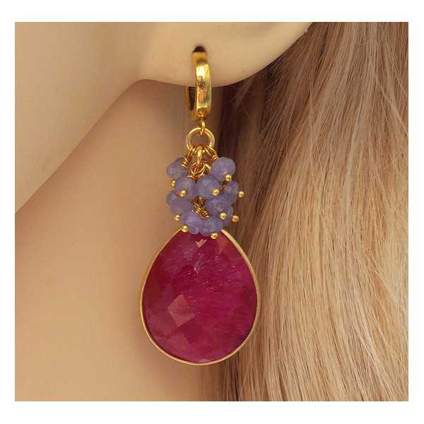 Gold plated earrings with Ruby briolet and Tanzaniet
