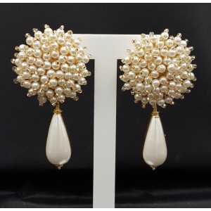 Earrings with oorknop with Pearl beads and Pearl