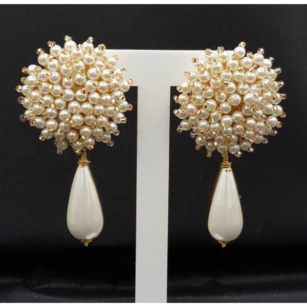 Ohrringe mit oorknop mit Perlen und Perlmutt