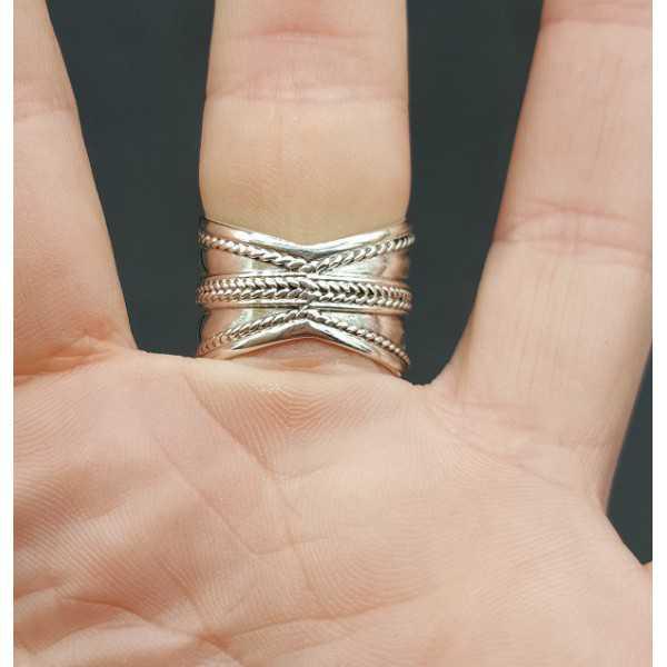 Zilveren brede bali ring 18 mm