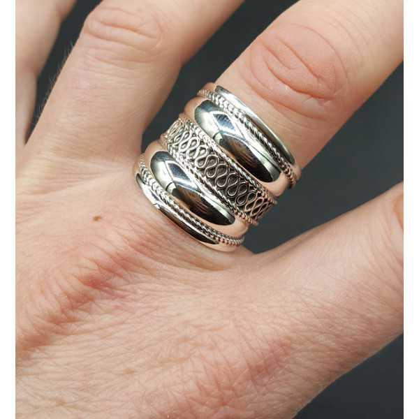 Silver wide bali ring 19 mm