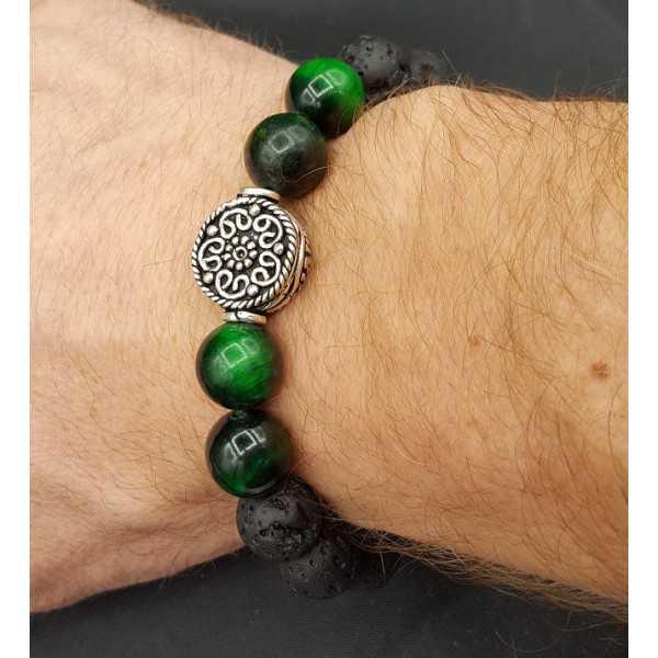 Stretch armband met Lava stenen en groene Tijgeroog