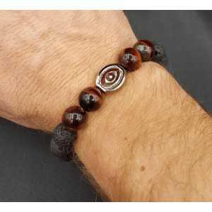 Stretch-Armband mit rotem Tigerauge und Lava-Stein