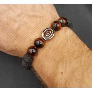 Stretch bracelet with red tiger's eye and Lava stone