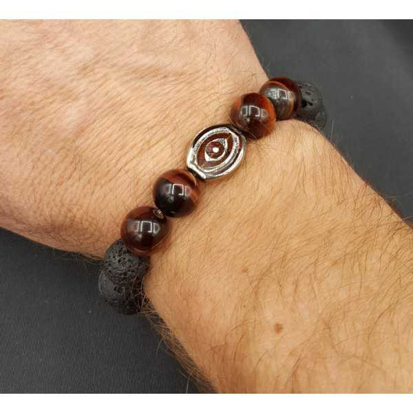 Stretch armband met rode Tijgeroog en Lava stenen