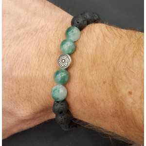 Stretch bracelet with Jade and Lava stone