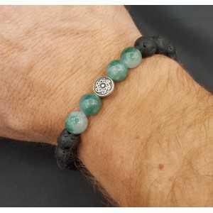Stretch-Armband mit Jade und Lavastein