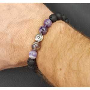 Stretch armband met Amethist Lace Agaat en Lava stenen