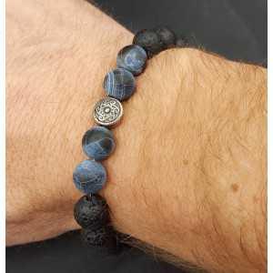 Stretch armband met matrix stene en Lava stenen