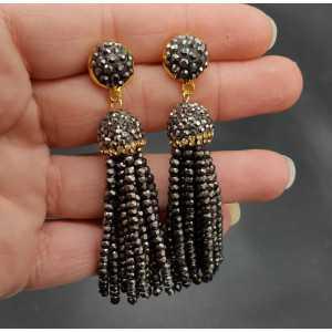 Quaste Ohrringe mit Schoko-braune Kristalle
